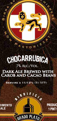 Chocarrubica 25.4oz bottle label.